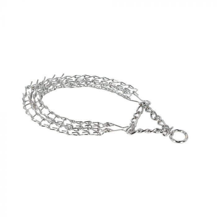 Metalna poluzatezna ogrlica - SPIKED dvojna 3